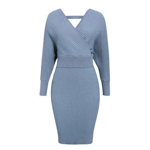 Open image in slideshow, V-neck Knitted Two Piece Dress