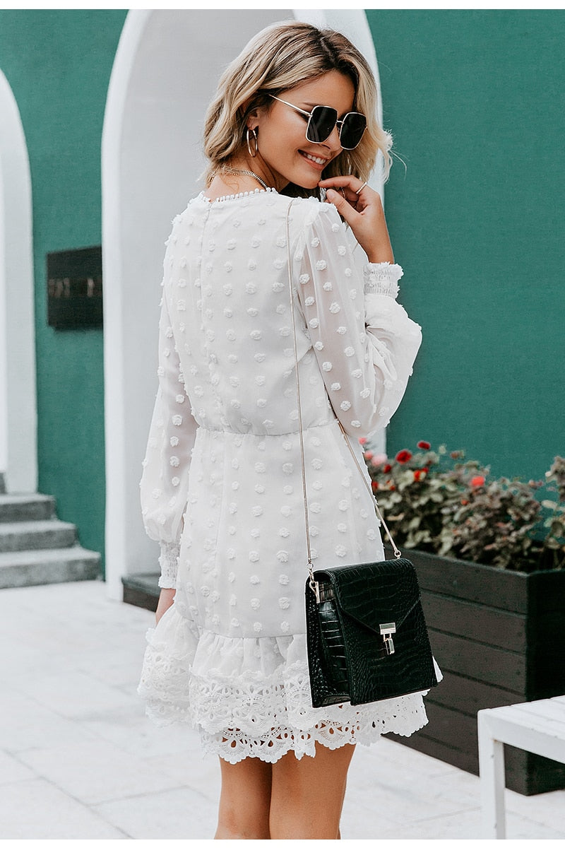 Lantern Sleeve Lace Dress