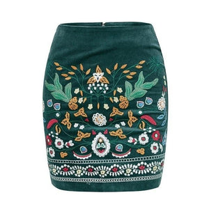Open image in slideshow, High Waist Embroidered Skirt