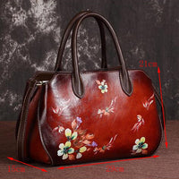Genuine Leather Floral Shoulder Bag