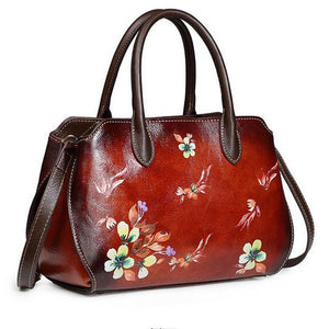 Open image in slideshow, Genuine Leather Floral Shoulder Bag