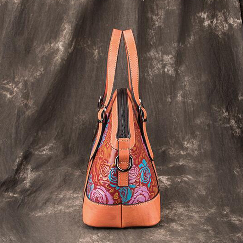 Vintage Genuine Embossed Leather Tote