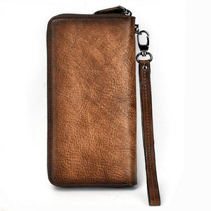 Embossed Genuine Leather Vintage  Fish Wallet