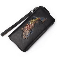 Load image into Gallery viewer, Embossed Genuine Leather Vintage  Fish Wallet
