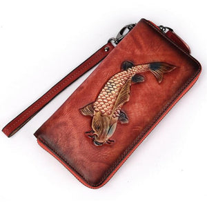 Open image in slideshow, Embossed Genuine Leather Vintage  Fish Wallet