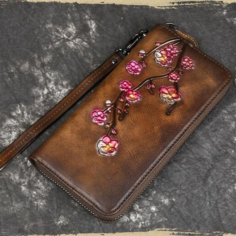 Genuine Leather Plum Flower Vintage Wallet