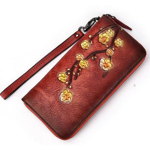 Open image in slideshow, Genuine Leather Plum Flower Vintage Wallet