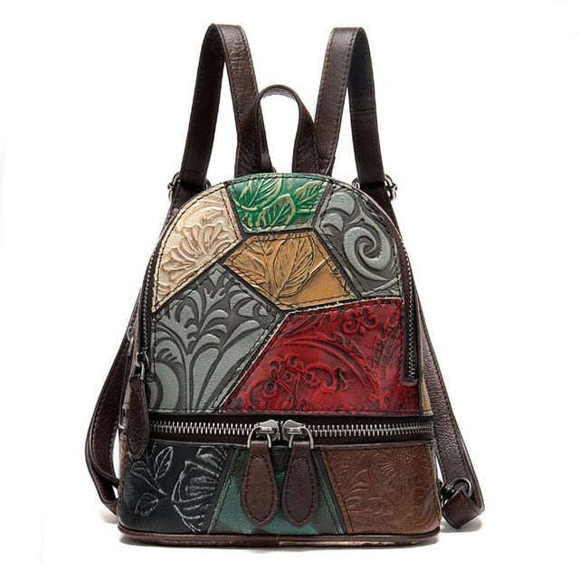 Genuine Leather Floral Backpack