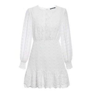 Open image in slideshow, Lantern Sleeve Lace Dress