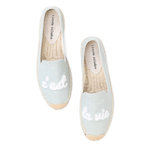 "Open image in slideshow, ""C'est La Vie"" Thick Sole Espadrilles"