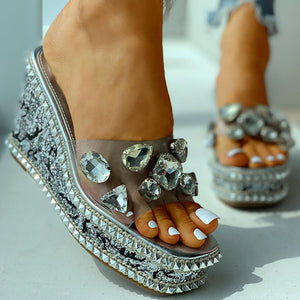 Open image in slideshow, Bling Crystal Wedge Sandals