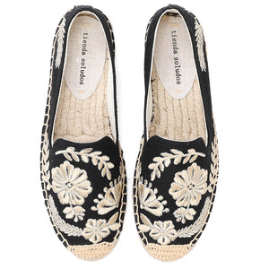 Open image in slideshow, Hemp Embroidered Espadrilles