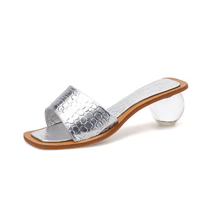 Open image in slideshow, Crystal Heel Slipper Sandals