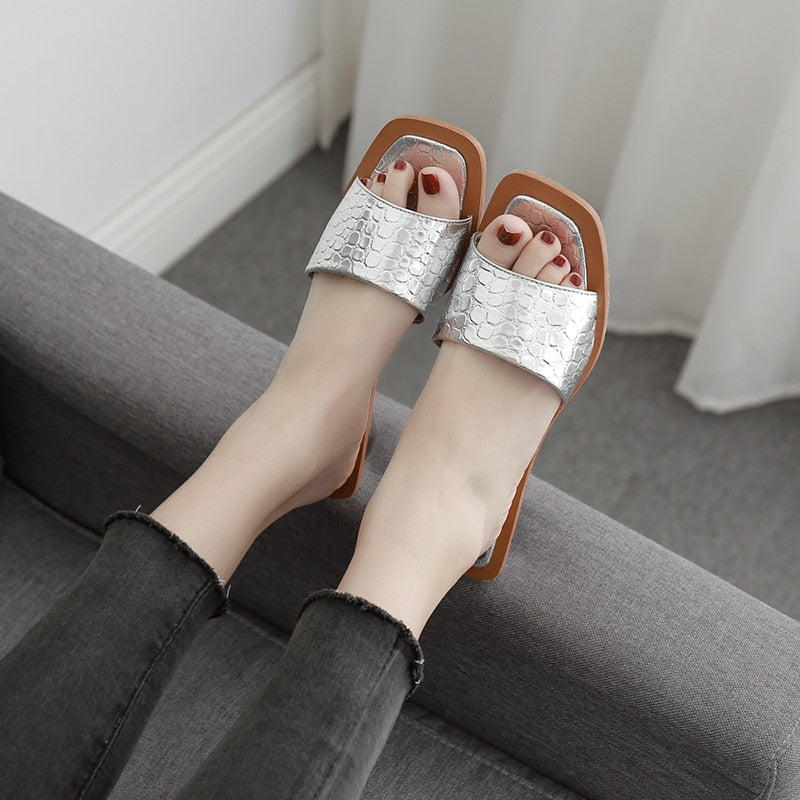 Crystal Heel Slipper Sandals
