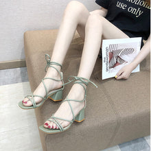 Load image into Gallery viewer, Square Heel Gladiator Sandals