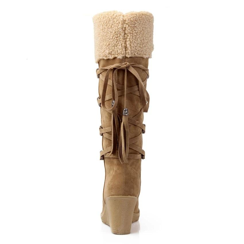 Leather Knee-High Plush Snow Boots