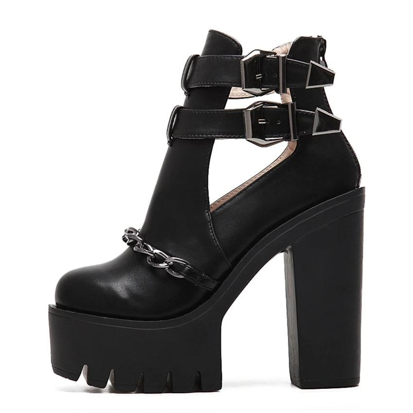 Thick Heels Platform Ankle Boots