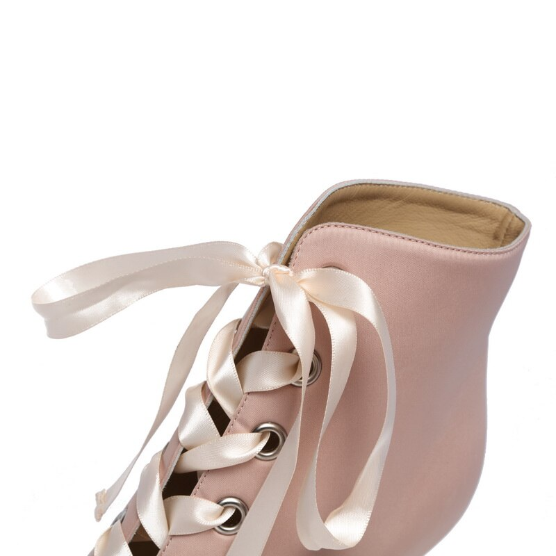 Pink Satin Ribbon Ankle Boots