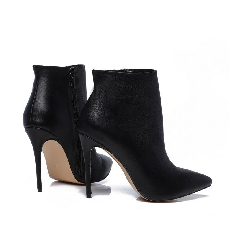 Genuine Leather Stiletto Ankle Boots