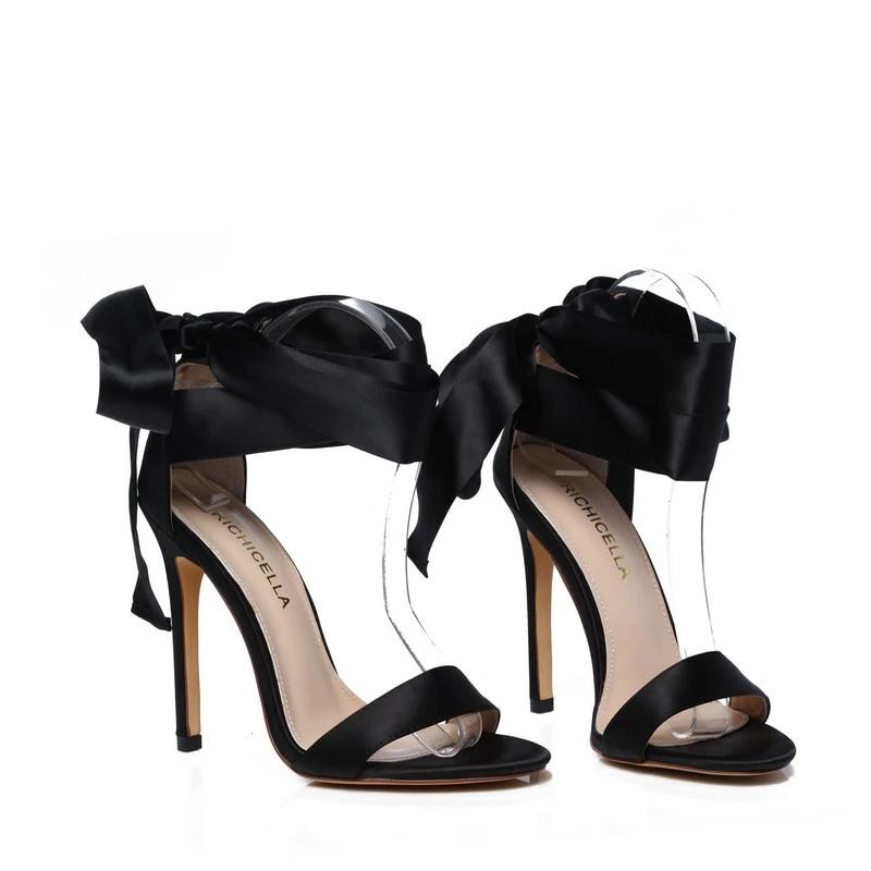 Black Satin Lace-Up Sandals