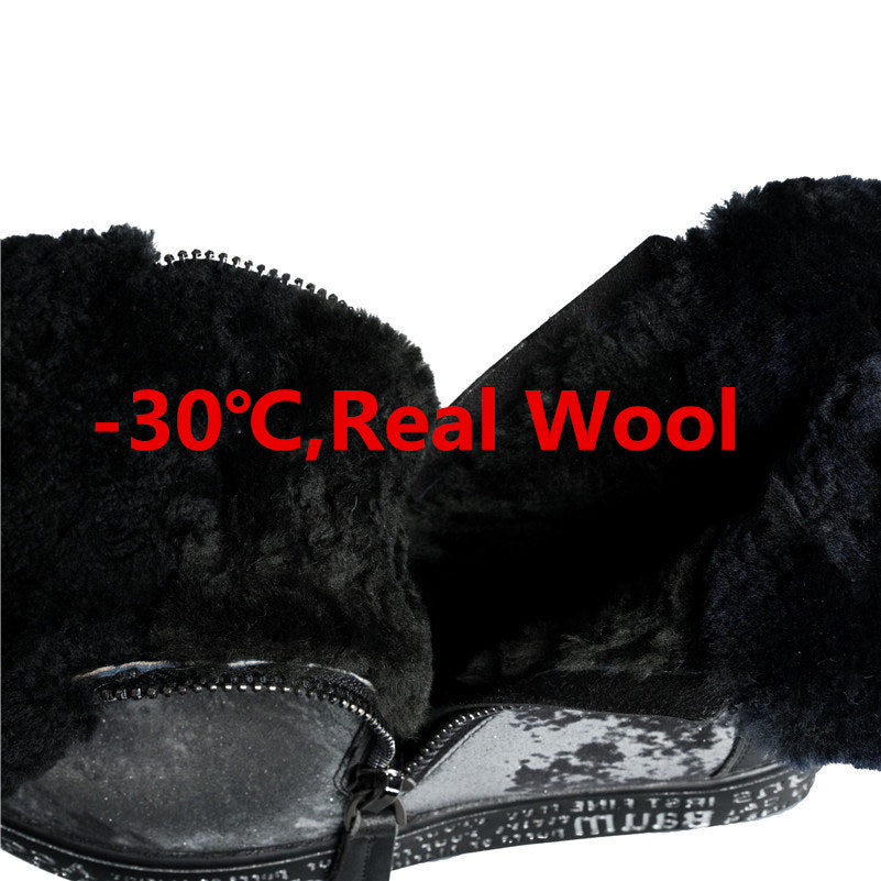 Genuine Leather Shearling Wool Ankle Boots