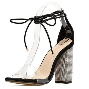 Open image in slideshow, Crystal Heel Sandals
