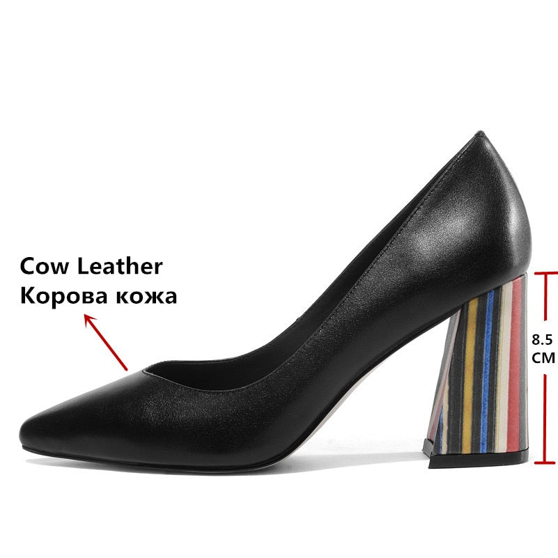 Genuine Leather Square Heel Pumps