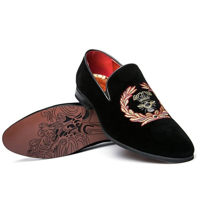 Embroidered Suede Leather Moccasins