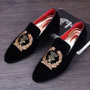 Open image in slideshow, Embroidered Suede Leather Moccasins