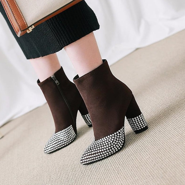 Pointed Toe Crystal Booties