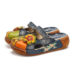 Open image in slideshow, Printed Leather Vintage Slip On Shoes