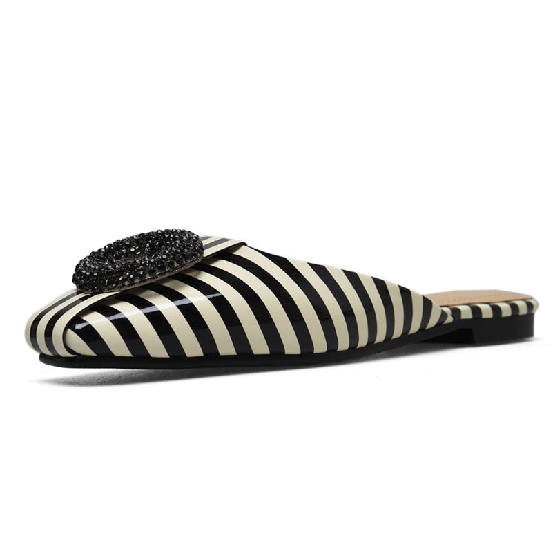 Square Heel Striped Slip-On Sandals
