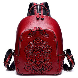 Open image in slideshow, Genuine Leather Embossed Vintage Backpack
