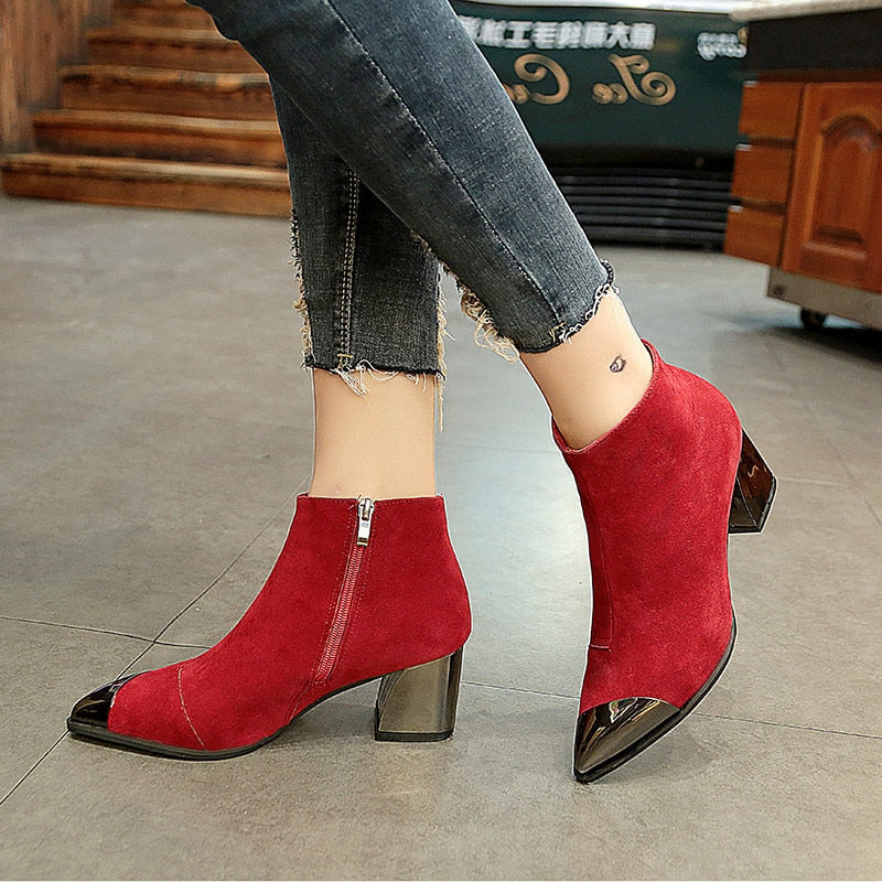 Square Heel Pointed Toe Chelsea Boots