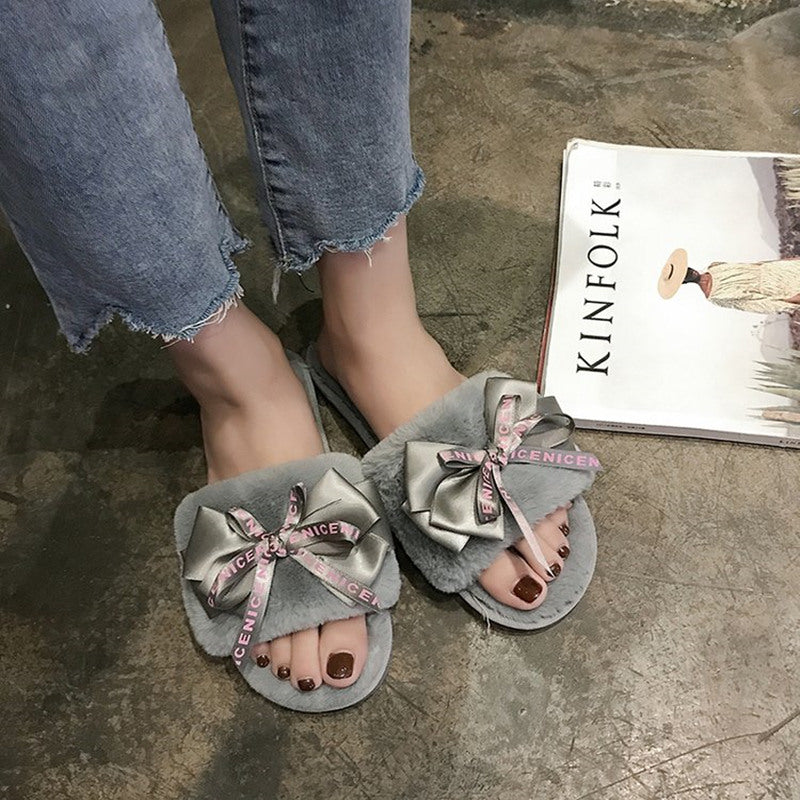 Plush Home Slippers with Faux Fur