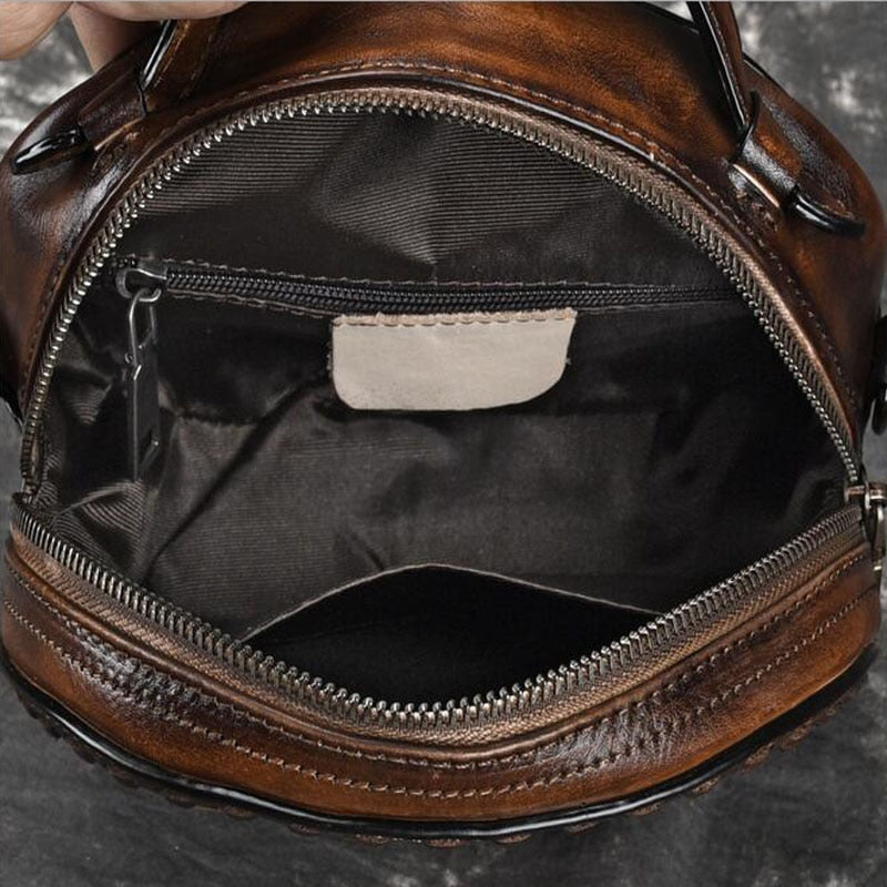 Embossed Genuine Leather Crossbody Bag