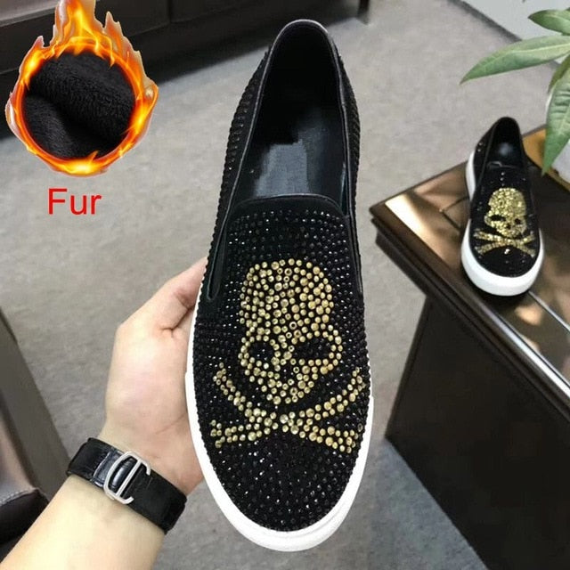 Genuine Leather Skull Flats