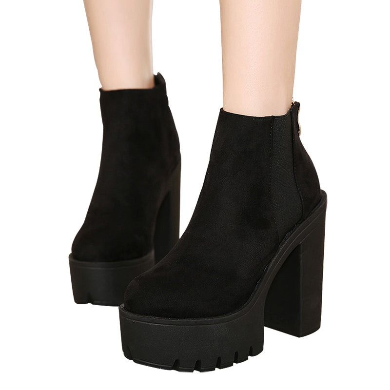 Thick Heel Black Ankle Boots