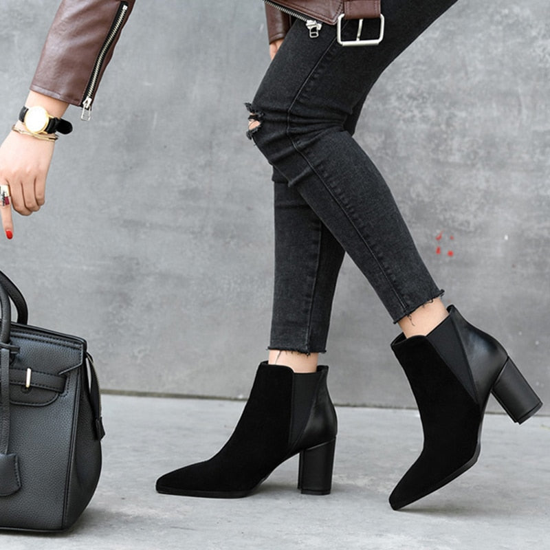 Genuine Leather Suede Booties