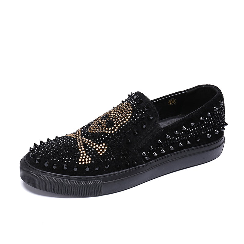 Men's Rhinestones & Spikes Skull Loafers