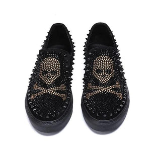 Open image in slideshow, Men's Rhinestones & Spikes Skull Loafers