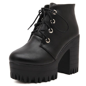Open image in slideshow, Chunky Heel Platform Ankle Boots