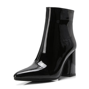Open image in slideshow, Metallic Mirror Pointed Toe Ankle Boots