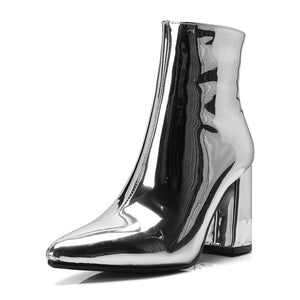 Metallic Mirror Pointed Toe Ankle Boots