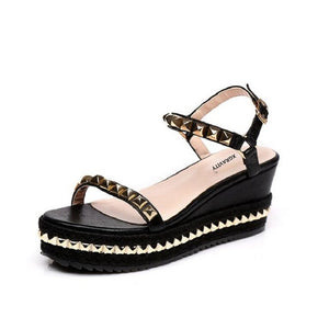 Open image in slideshow, Rivets Wedge Sandals