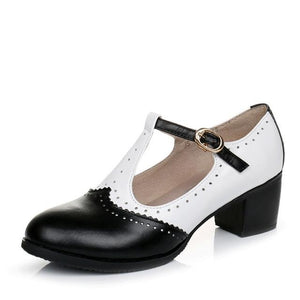 Genuine Leather T-Strap Vintage Shoes