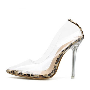 Open image in slideshow, Transparent Leopard Pumps