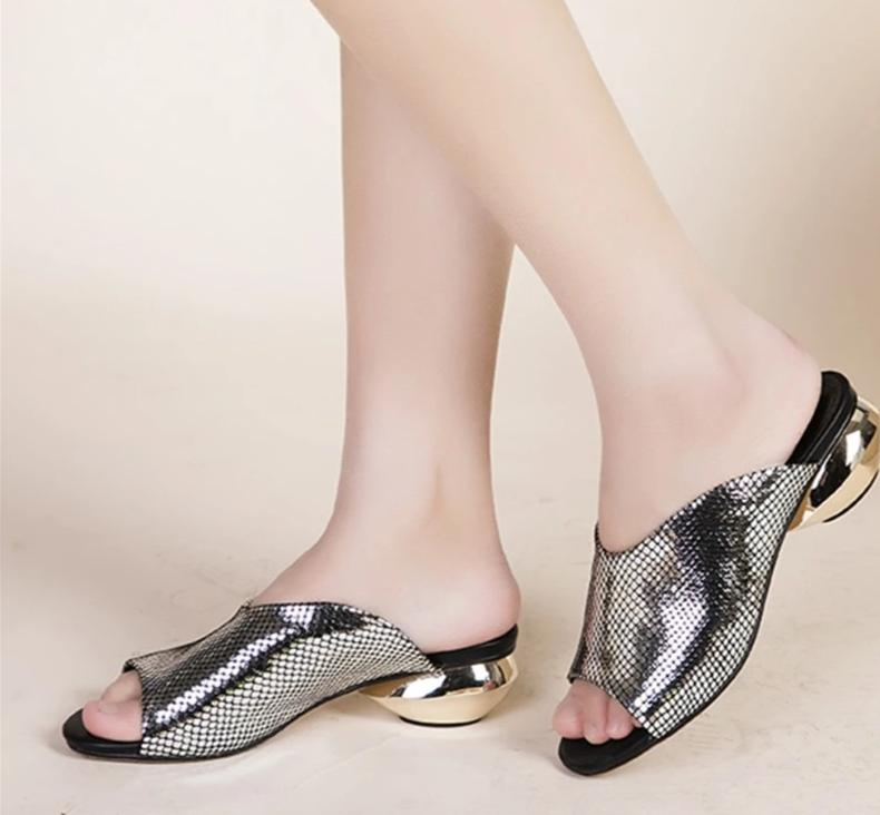 Open Toe Lux Silver Sandals