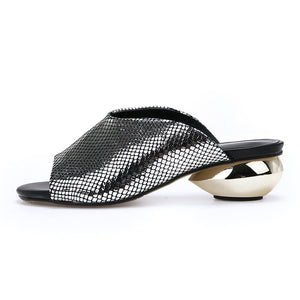 Open image in slideshow, Open Toe Lux Silver Sandals