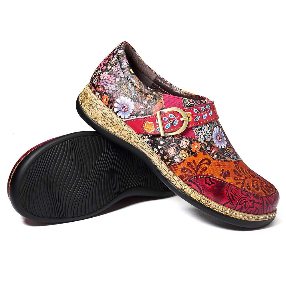Genuine Leather Retro Flower Shoes